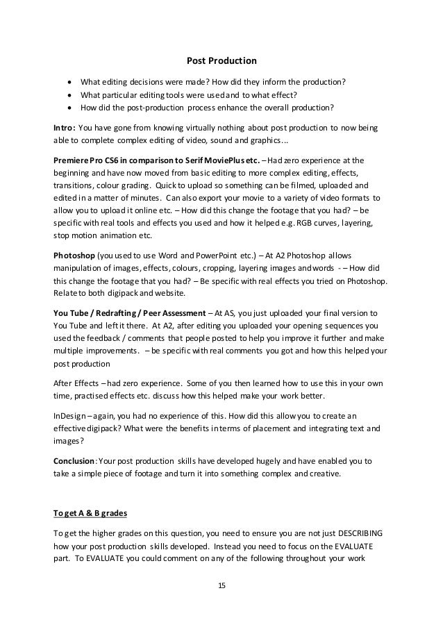 Examples of a2 media coursework essay