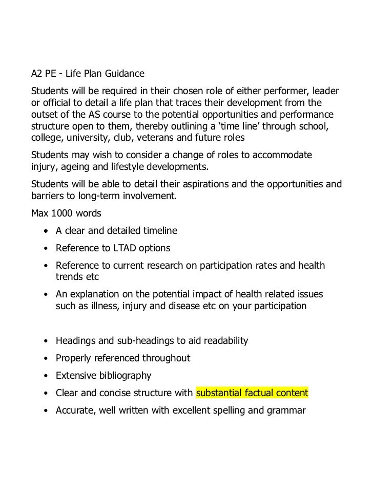 A2 PE - Life Plan GuidanceStudents will be required in their chosen role of either performer, leaderor official to detail ...