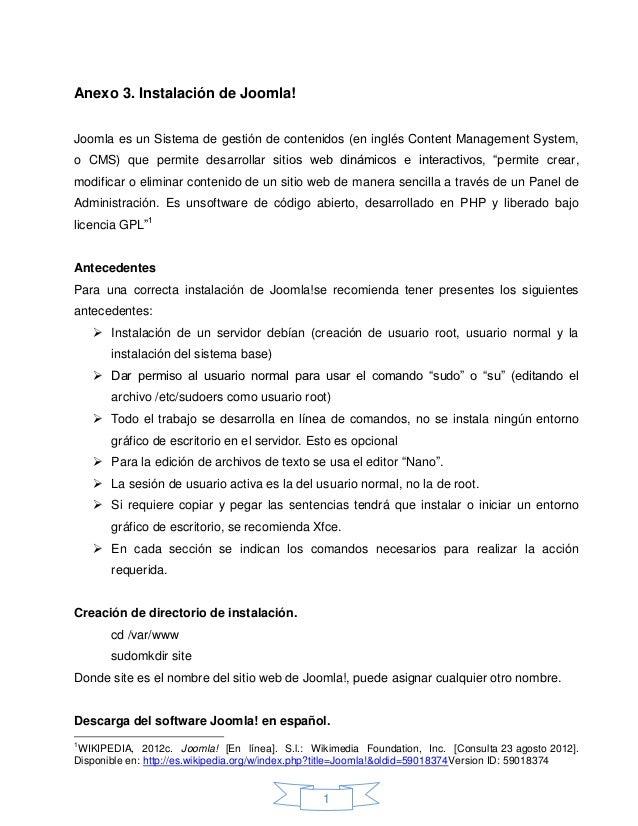 Anexo 3. Instalación de Joomla!Joomla es un Sistema de gestión de contenidos (en inglés Content Management System,o CMS) q...