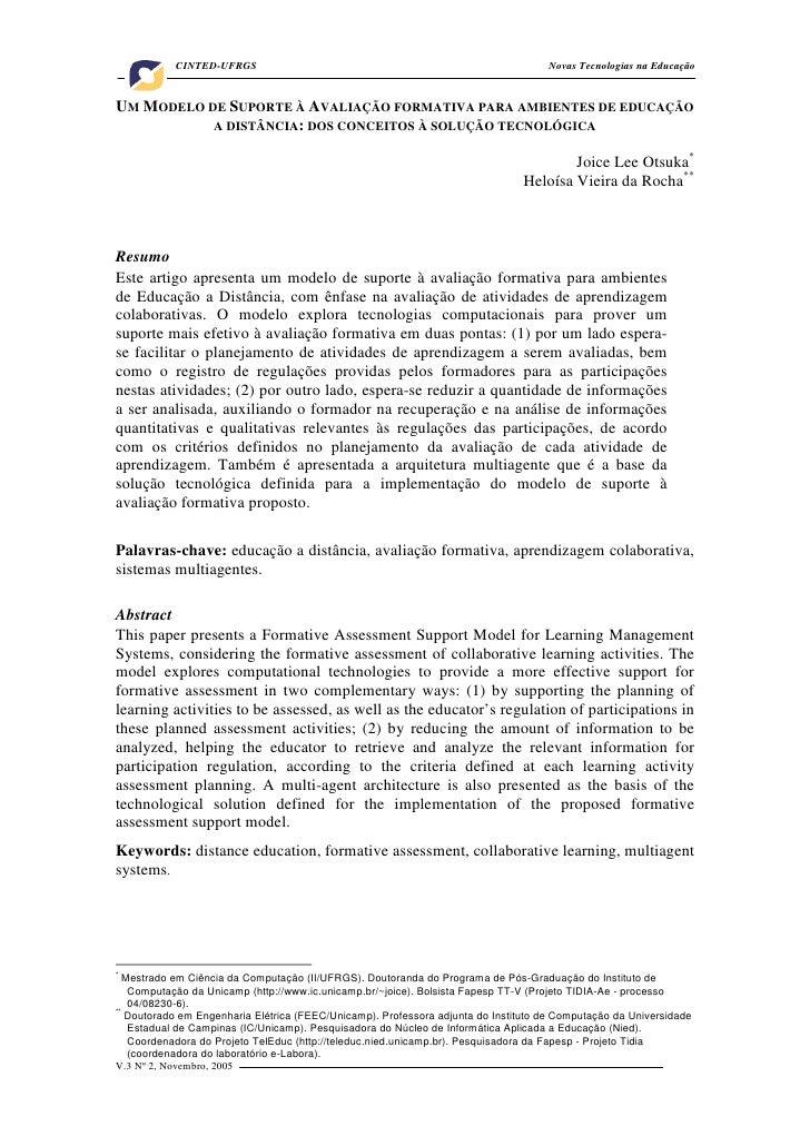 UM MODELO DE SUPORTE À AVALIAÇÃO FORMATIVA PARA AMBIENTES DE EDUCAÇÃO A DISTÂNCIA: DOS CONCEITOS À SOLUÇÃO TECNOLÓGICA.