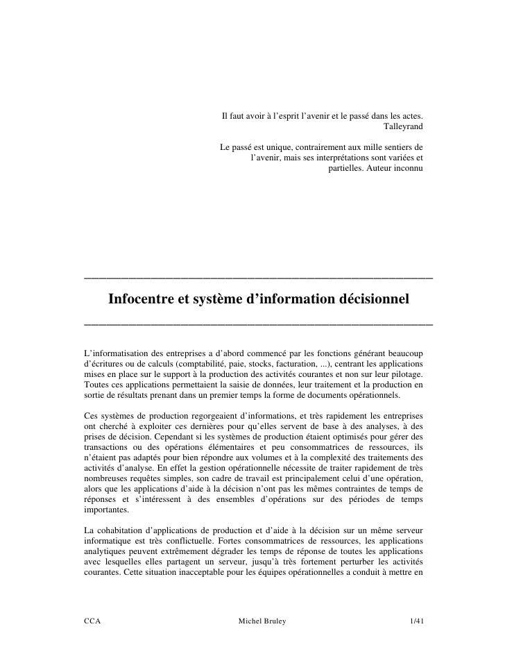 Infocentre et système décisionnel