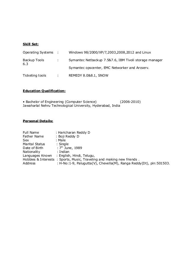 haricharan reddy netbackup resume