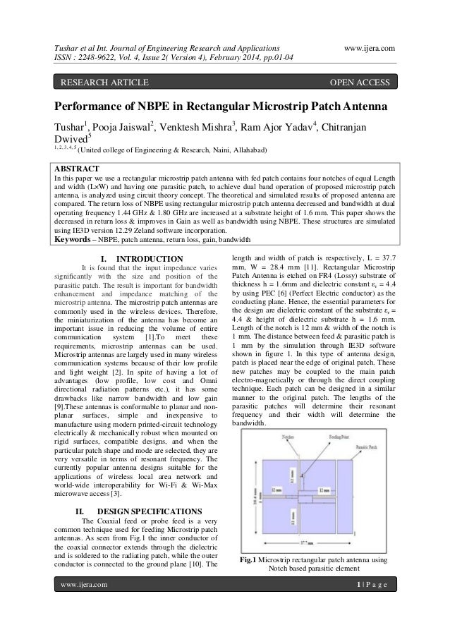 Tushar et al Int. Journal of Engineering Research and Applications ISSN : 2248-9622, Vol. 4, Issue 2( Version 4), February...