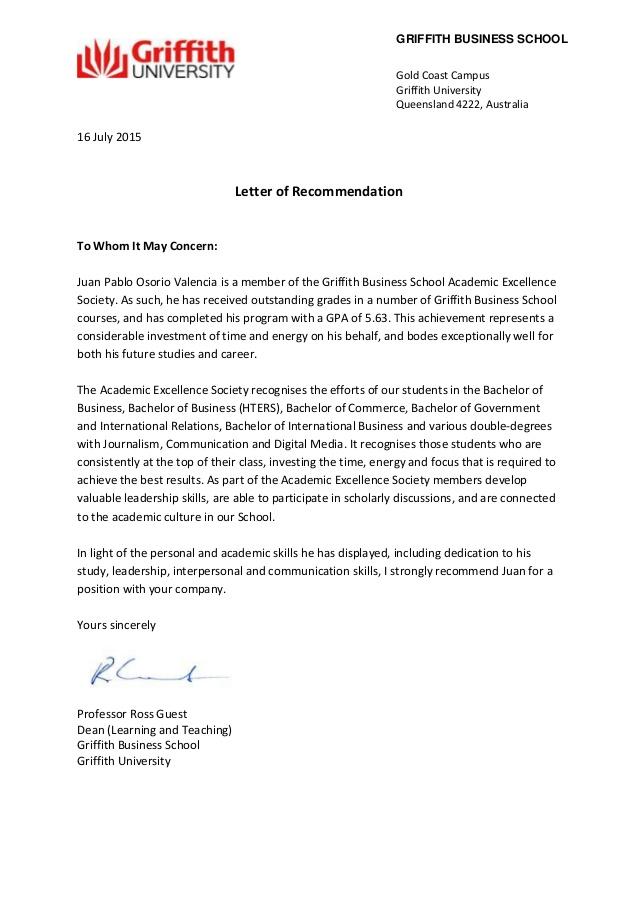 University Completion Letter Australia Template