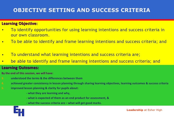 OBJECTIVE SETTING AND SUCCESS CRITERIA <ul><li>Learning Objective:   </li></ul><ul><li>To identify opportunities for using...