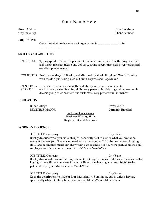 skill for resume examples