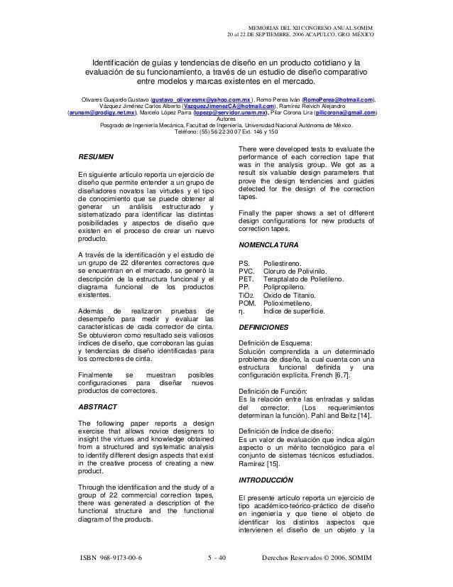MEMORIAS DEL XII CONGRESO ANUAL SOMIM 20 al 22 DE SEPTIEMBRE, 2006 ACAPULCO, GRO. MÉXICO ISBN 968-9173-00-6 5 - 40 Derecho...