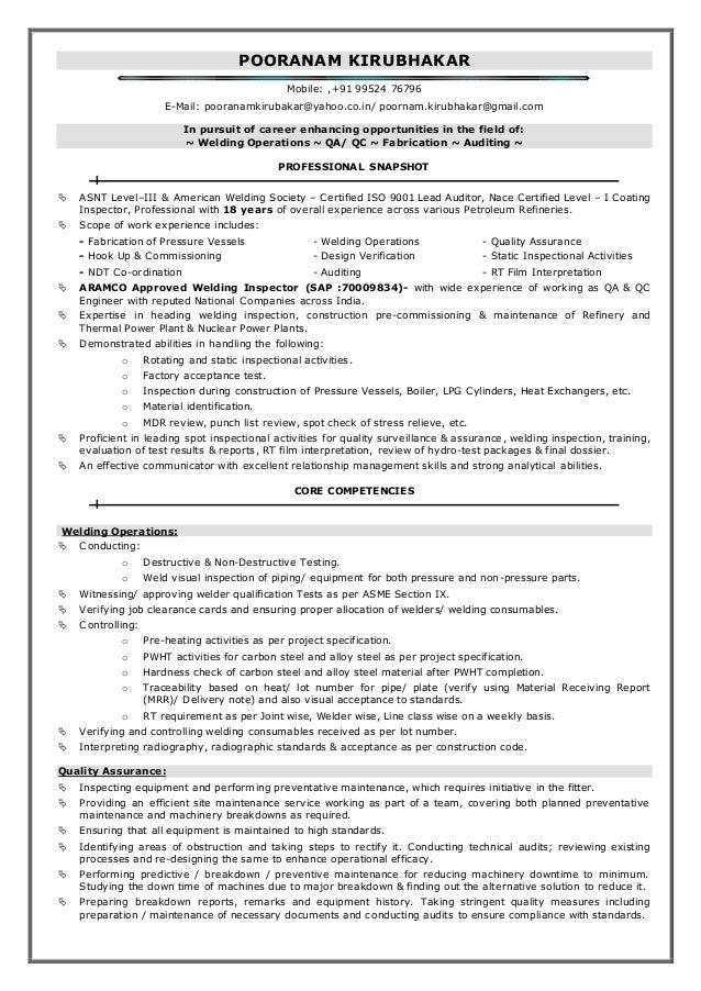 Instrument qc inspector resume