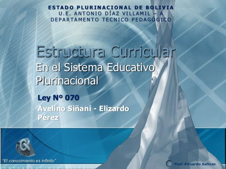 ESTADO PLURINACIONAL DE BOLIVIA                           U.E. ANTONIO DÍAZ VILLAMIL – A                         DEPARTAME...