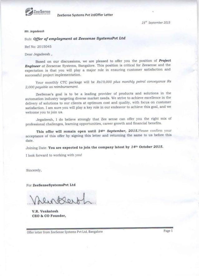 ZEE Offer Letter