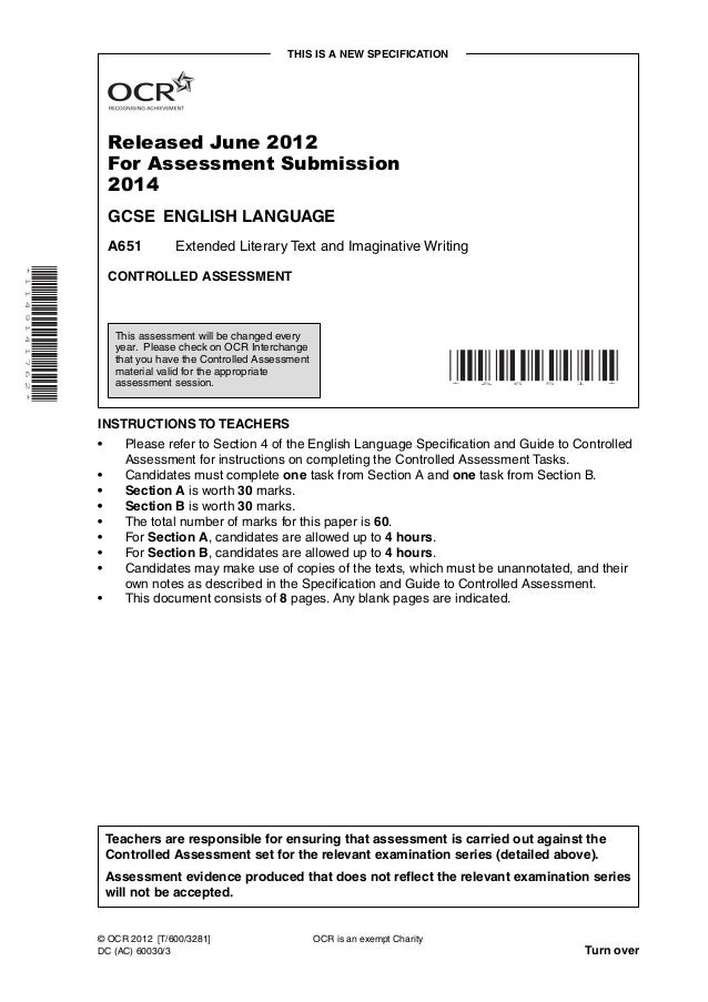 THIS IS A NEW SPECIFICATION                              Released June 2012                              For Assessment Su...
