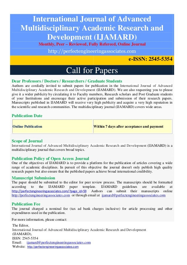 Calls for Papers for Journal Manuscripts