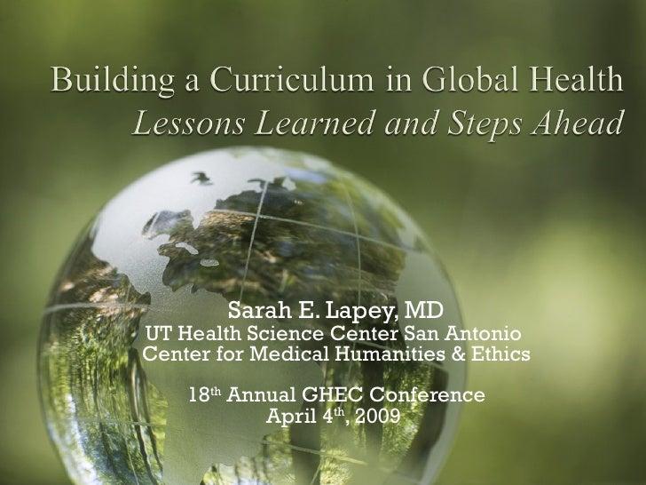 GH Curriculum: Sarah Lapey