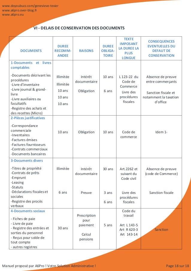 Manuel d 39 organisation administrative comptable et commerciale - Duree papiers administratifs ...