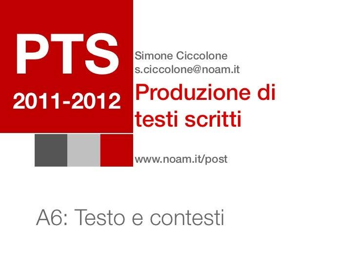 PTS         Simone Ciccolone            s.ciccolone@noam.it          Produzione di2011-2012          testi scritti        ...