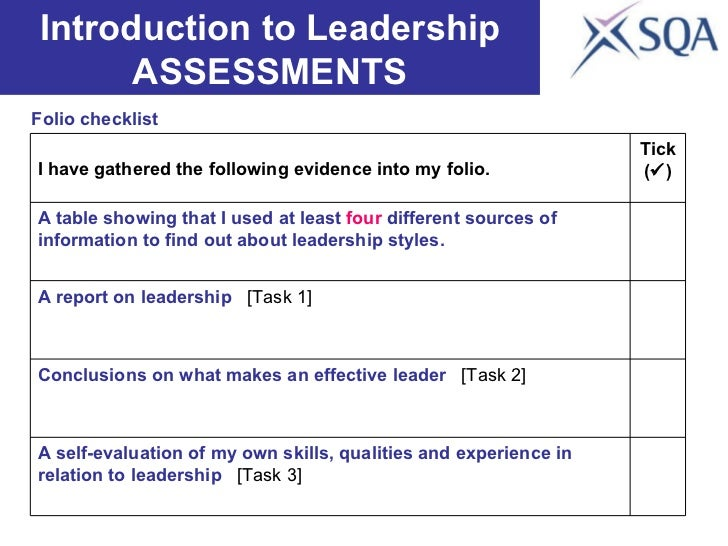 Folio checklist Introduction to Leadership ASSESSMENTS A self-evaluation of my own skills, qualities and experience in rel...