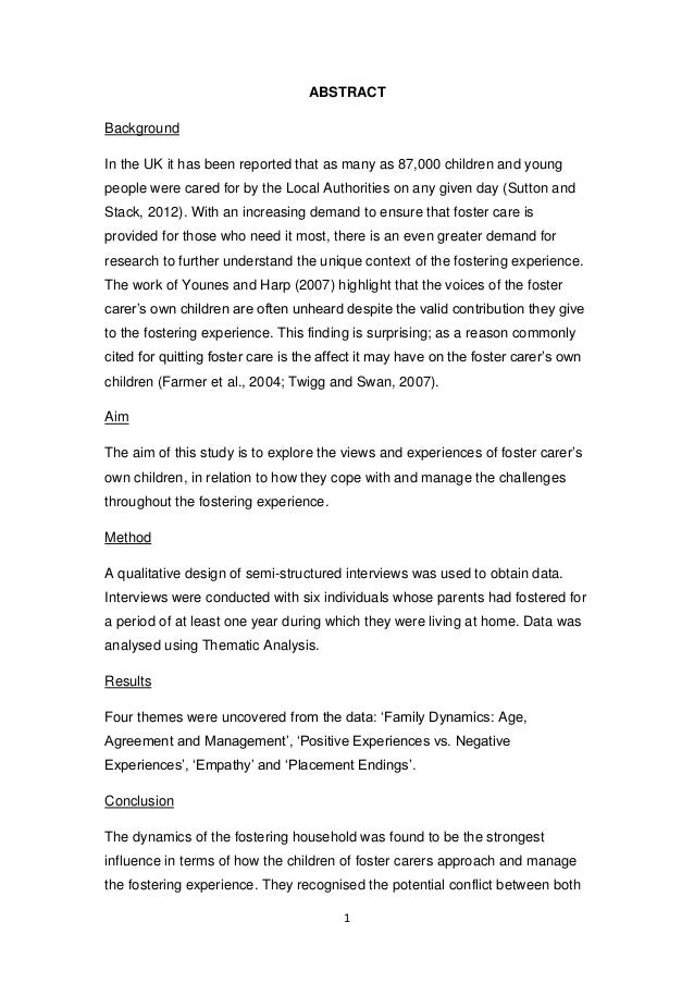 Dissertation about foster care