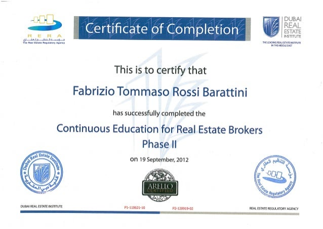 RERA Broker ID Phase 2 Certificate of Completion 19-09-2012