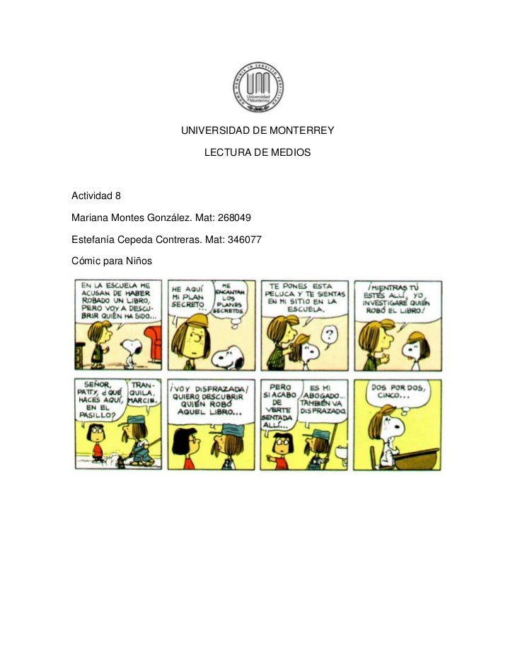 UNIVERSIDAD DE MONTERREY                           LECTURA DE MEDIOSActividad 8Mariana Montes González. Mat: 268049Estefan...