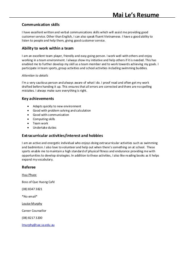 Excellent Communication Skills Resume Example