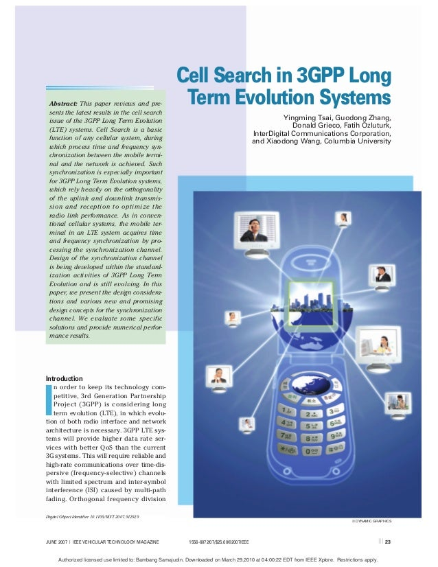 Cell Search in 3GPP Long Abstract: This paper reviews and pre- sents the latest results in the cell search                ...