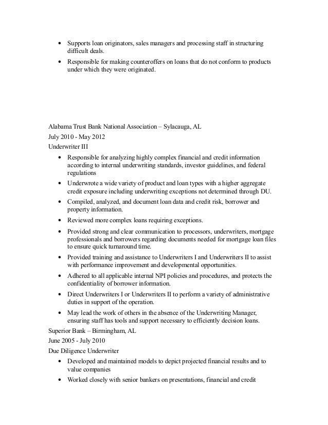 underwriting resume 2