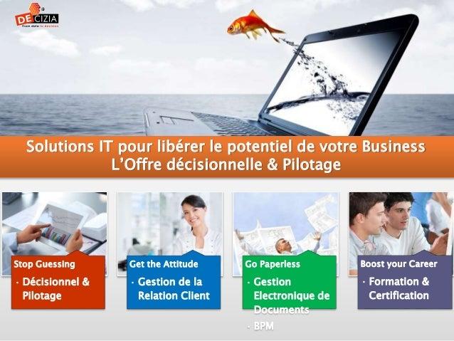 Stop Guessing • Décisionnel & Pilotage Get the Attitude • Gestion de la Relation Client Go Paperless • Gestion Electroniqu...