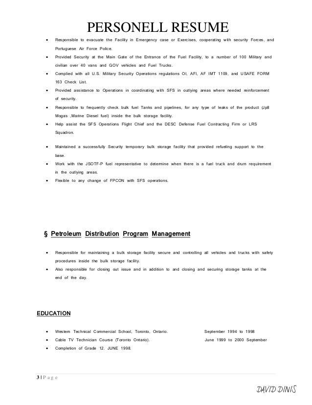 resume format signeddavid dinis    personell resume