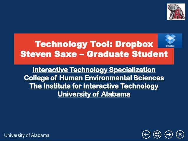 Technology Tool: Dropbox Steven Saxe – Graduate Student Interactive Technology Specialization College of Human Environment...