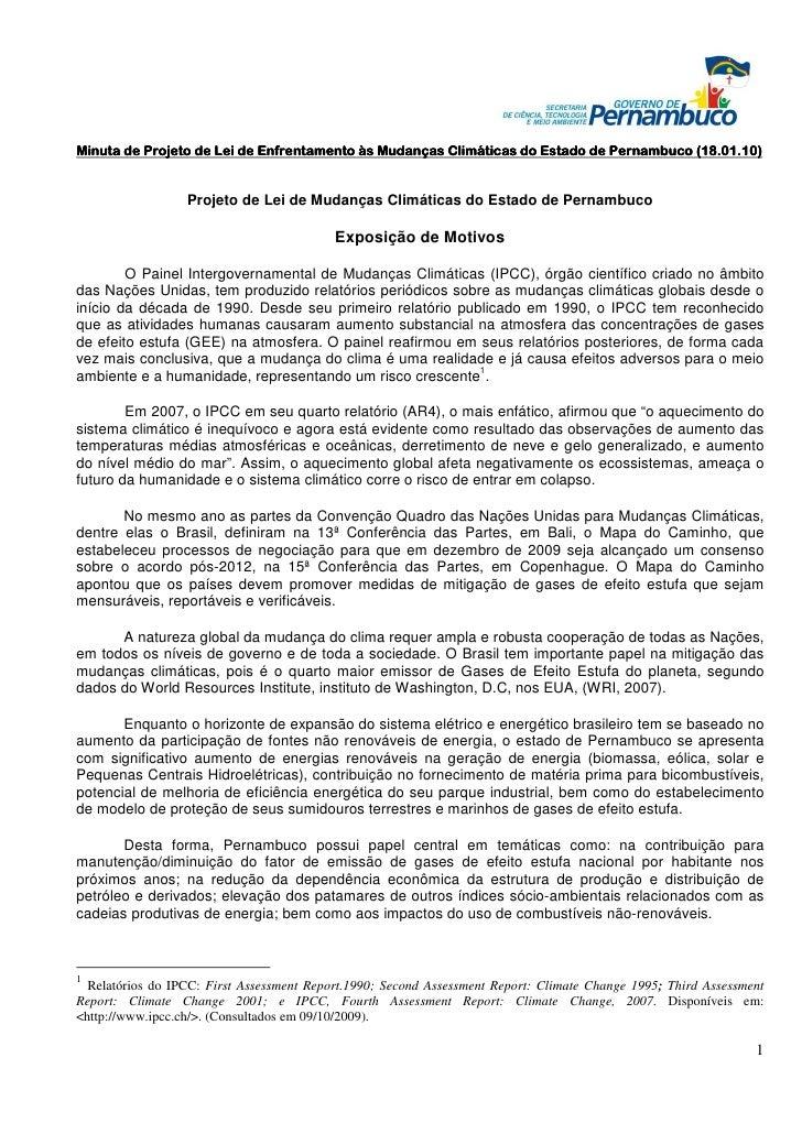 Minuta de Projeto de Lei de Enfrentamento às Mudanças Climáticas do Estado de Pernambuco (18.01.10)                     Pr...