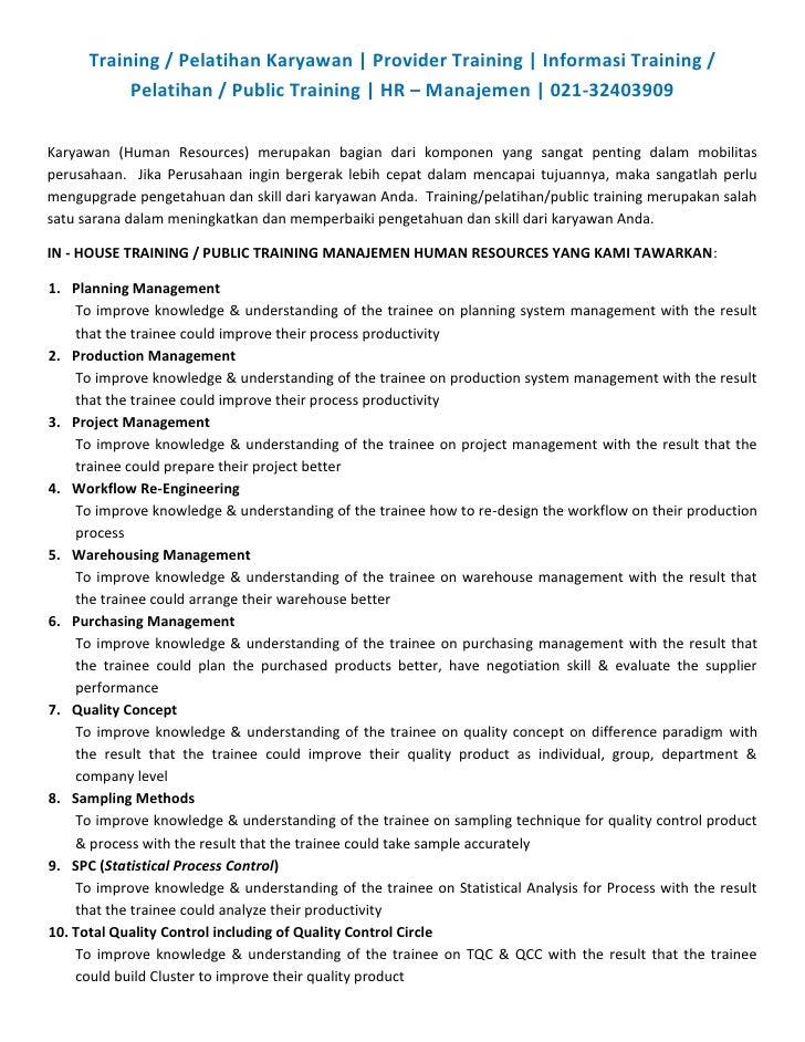 Training / Pelatihan Karyawan   Provider Training   Informasi Training /            Pelatihan / Public Training   HR – Man...