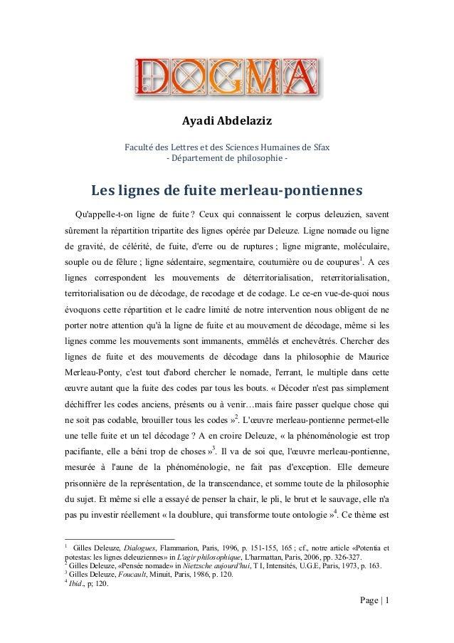 Ayadi Abdelaziz Faculté des Lettres et des Sciences Humaines de Sfax - Département de philosophie -  Les lignes de fuite m...