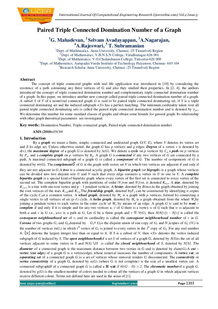 International Journal Of Computational Engineering Research (ijceronline.com) Vol.2 Issue.5            Paired Triple Conne...