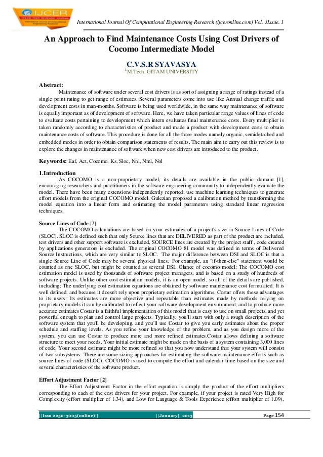 International Journal Of Computational Engineering Research (ijceronline.com) Vol. 3Issue. 1  An Approach to Find Maintena...