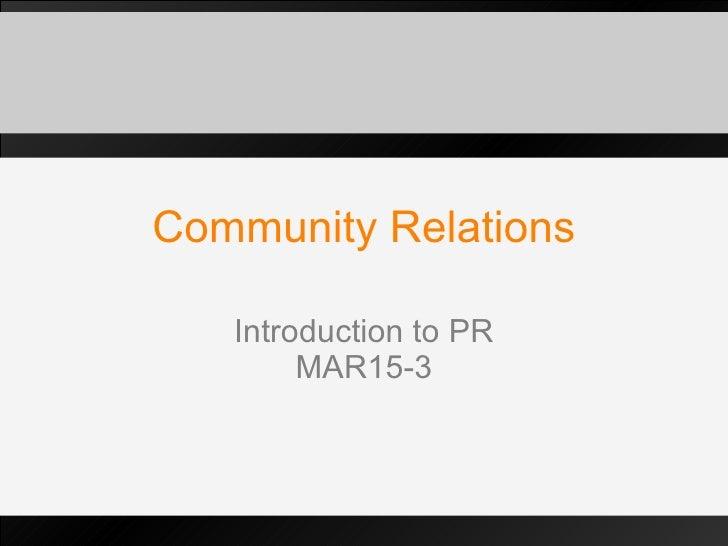 CSR & Community Relations