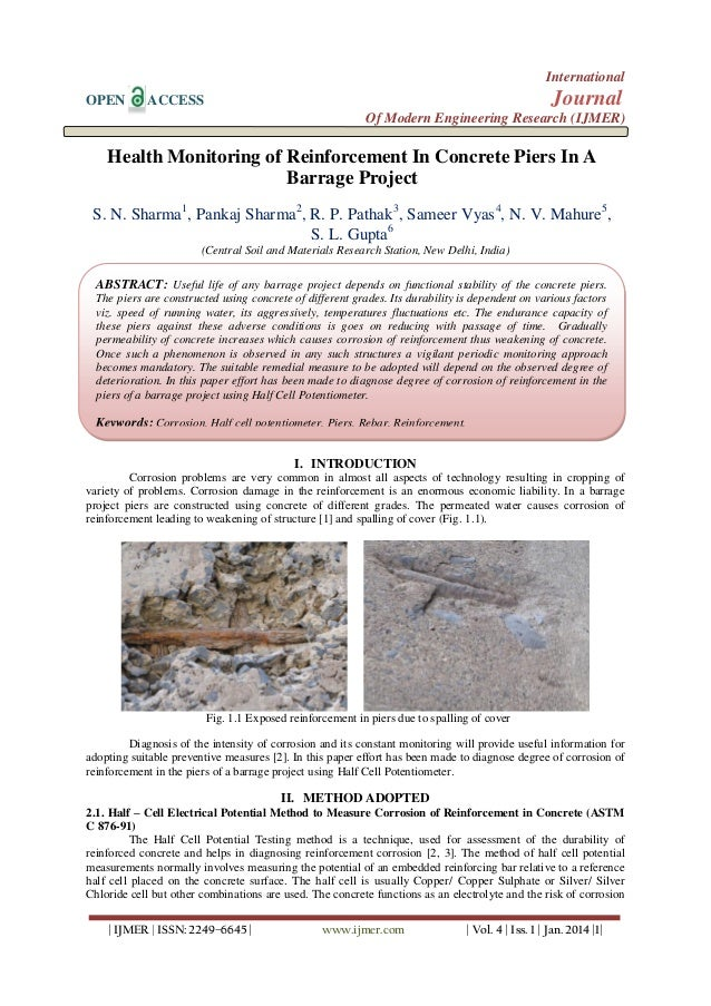 International OPEN  Journal  ACCESS  Of Modern Engineering Research (IJMER)  Health Monitoring of Reinforcement In Concret...