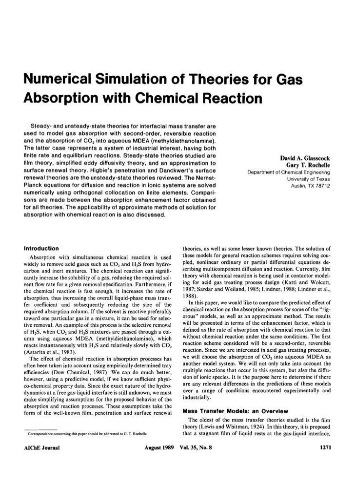 Numerical Simulation of Theories for Gas Absorption with Chemical Reaction     Steady- and unsteady-state theories for int...