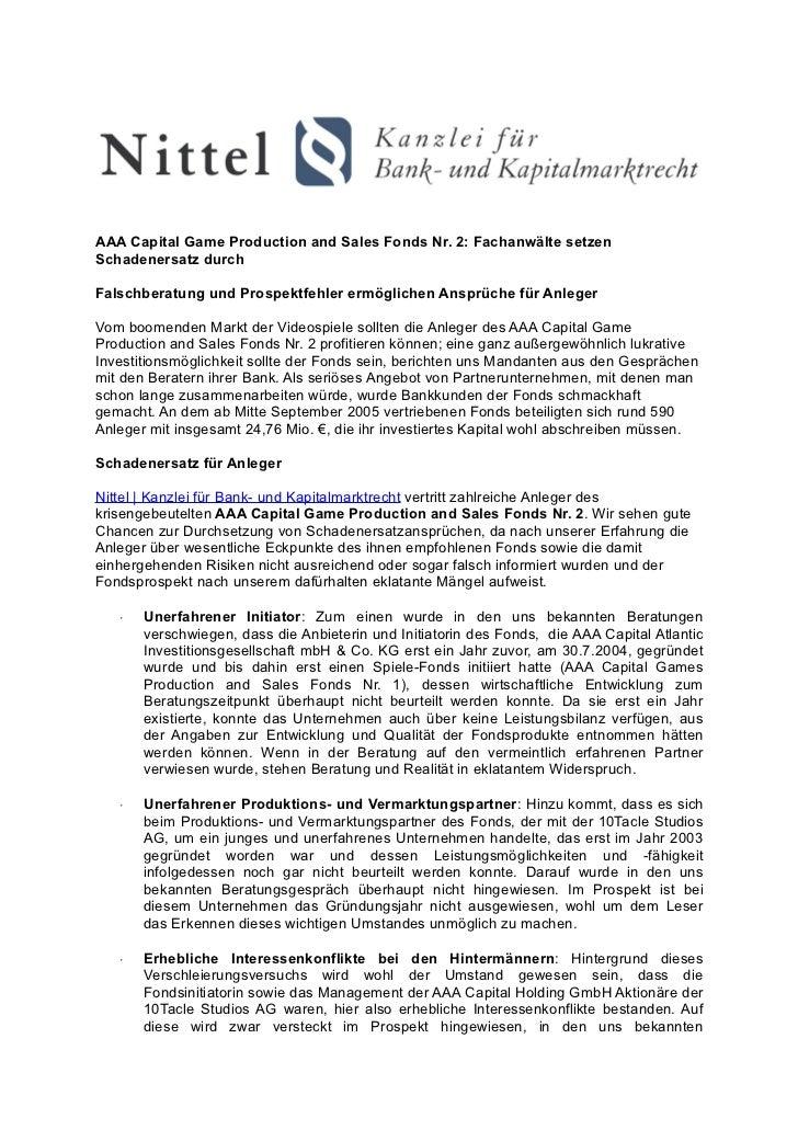 AAA Capital Game Production and Sales Fonds Nr. 2: Fachanwälte setzenSchadenersatz durchFalschberatung und Prospektfehler ...