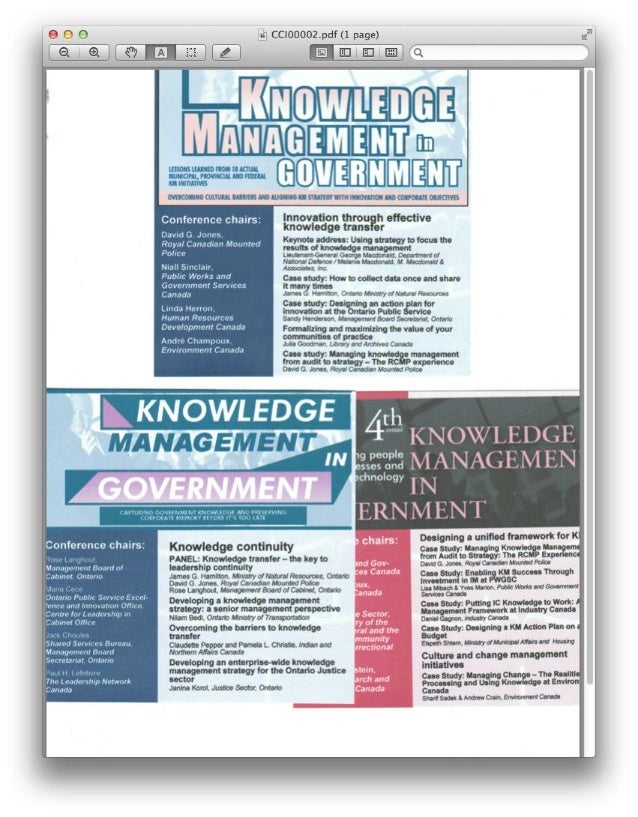 Knowledge Management (KM): Examples of qualifications