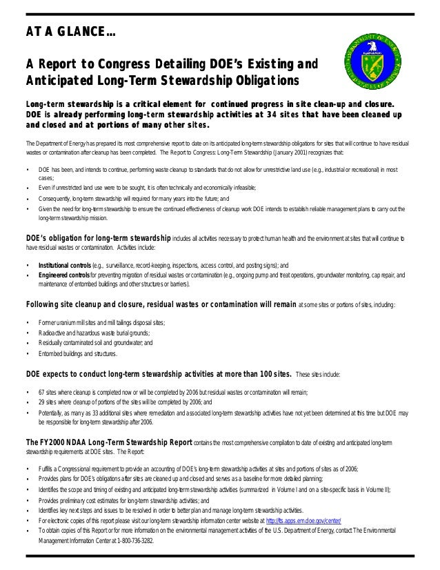 AT A GLANCE... A Report to Congress Detailing DOE's Existing and Anticipated Long-Term Stewardship Obligations Long-term s...