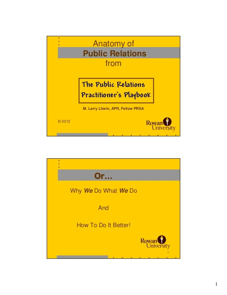 Anatomy of           Public Relations                 from          The Public Relations          Practitioner's Playbook ...