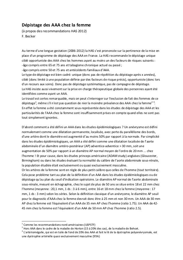 DépistagedesAAAchezlafemme(àproposdesrecommandationsHAS2012)F.BeckerAutermedunelonguegestation(2006‐2...