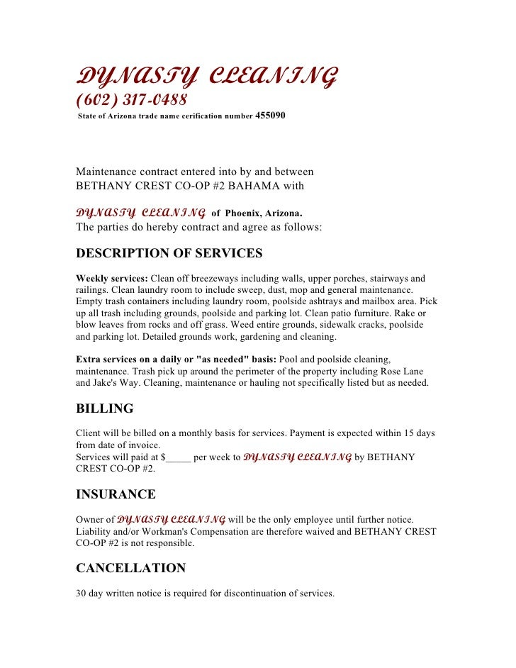 Cleaning Service Agreement Images  Reverse Search