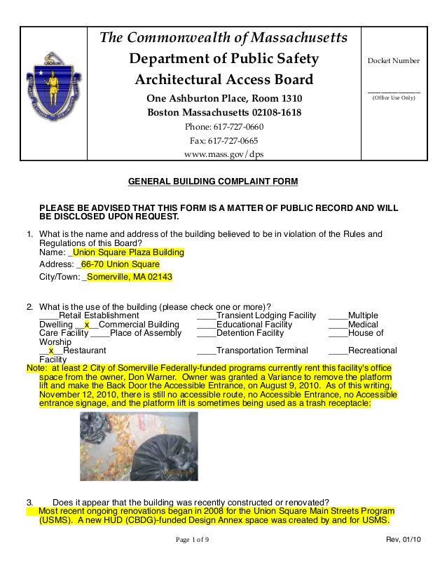 AAB Bldg complaint Somerville 66-70 Union Square