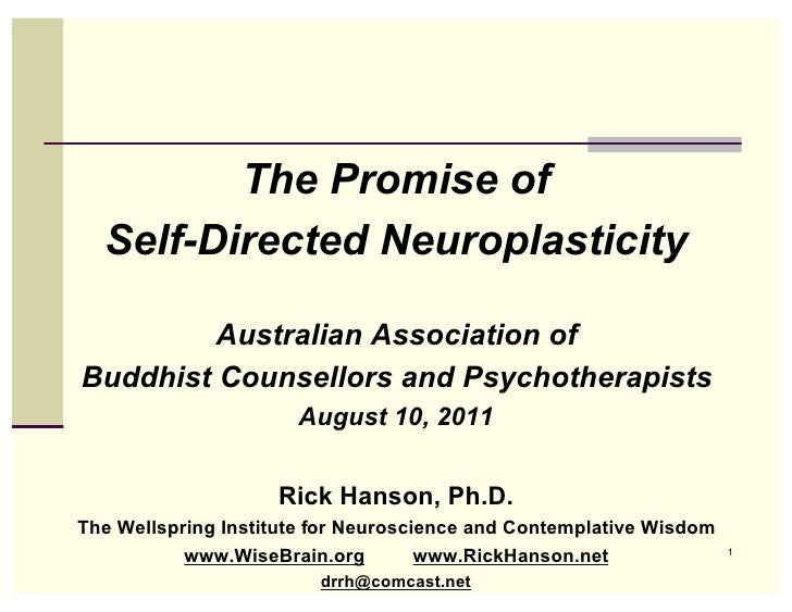 The Promise of  Self-Directed Neuroplasticity         Australian Association ofBuddhist Counsellors and Psychotherapists  ...