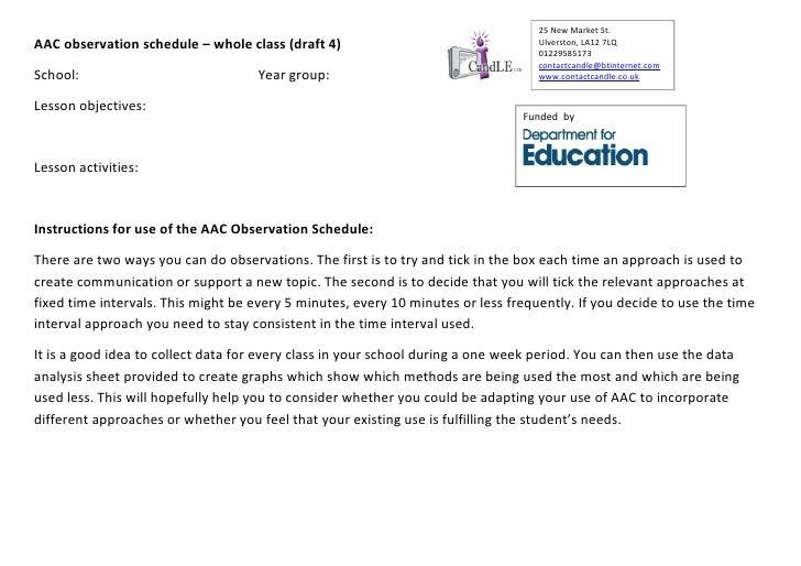 Aac observation schedule class draft 4