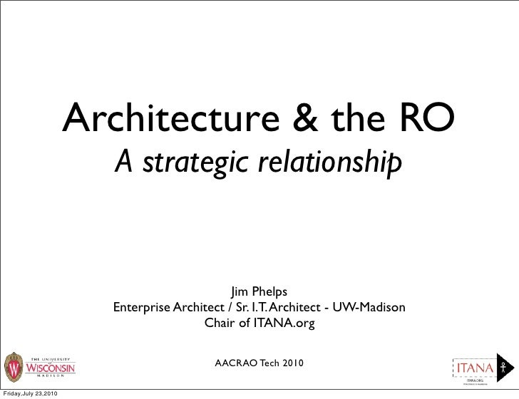 Architecture & the RO                         A strategic relationship                                                 Jim...