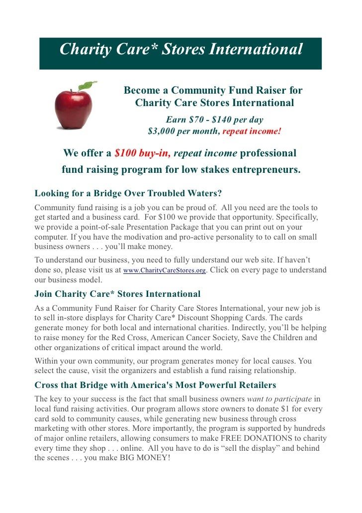 Charity Care* Stores International                          Become a Community Fund Raiser for                            ...