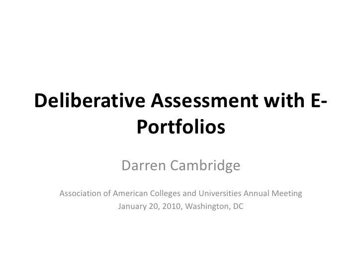 Deliberative Asssessment with E-Portfolios