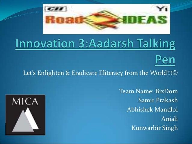 Aadarsh talking pen_BizDom_2ndnov2012